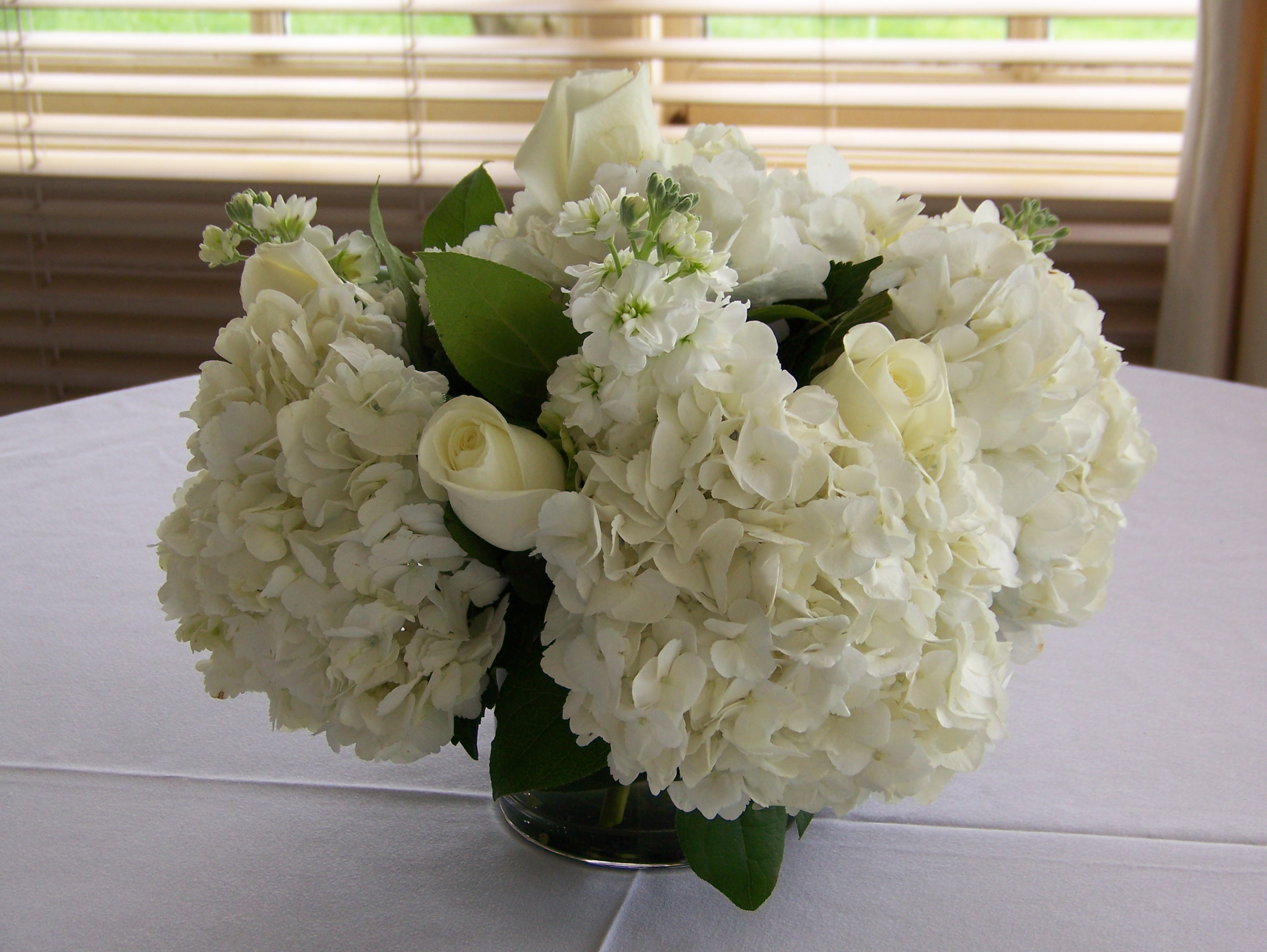 Send flowers anywhere in the united states or europe centerpiece of white roses stock and hydrangea mightylinksfo